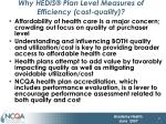 why hedis plan level measures of efficiency cost quality