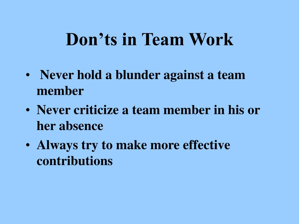 Don'ts in Team Work