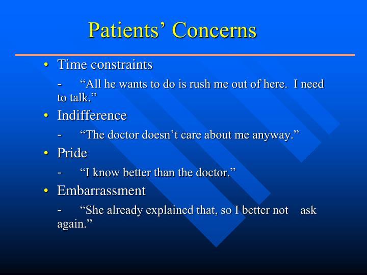 Patients' Concerns