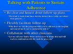 talking with patients to sustain adherence8