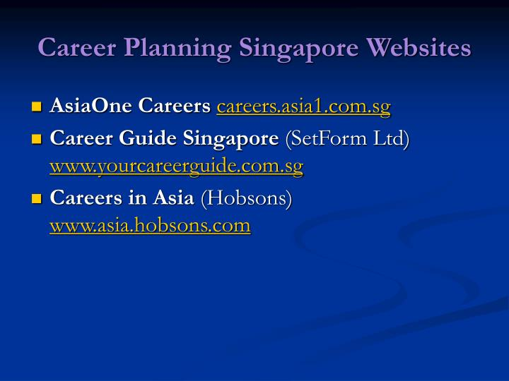 Career planning singapore websites