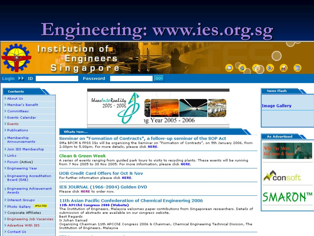 Engineering: www.ies.org.sg