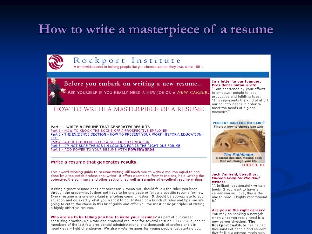 How to write a masterpiece of a resume