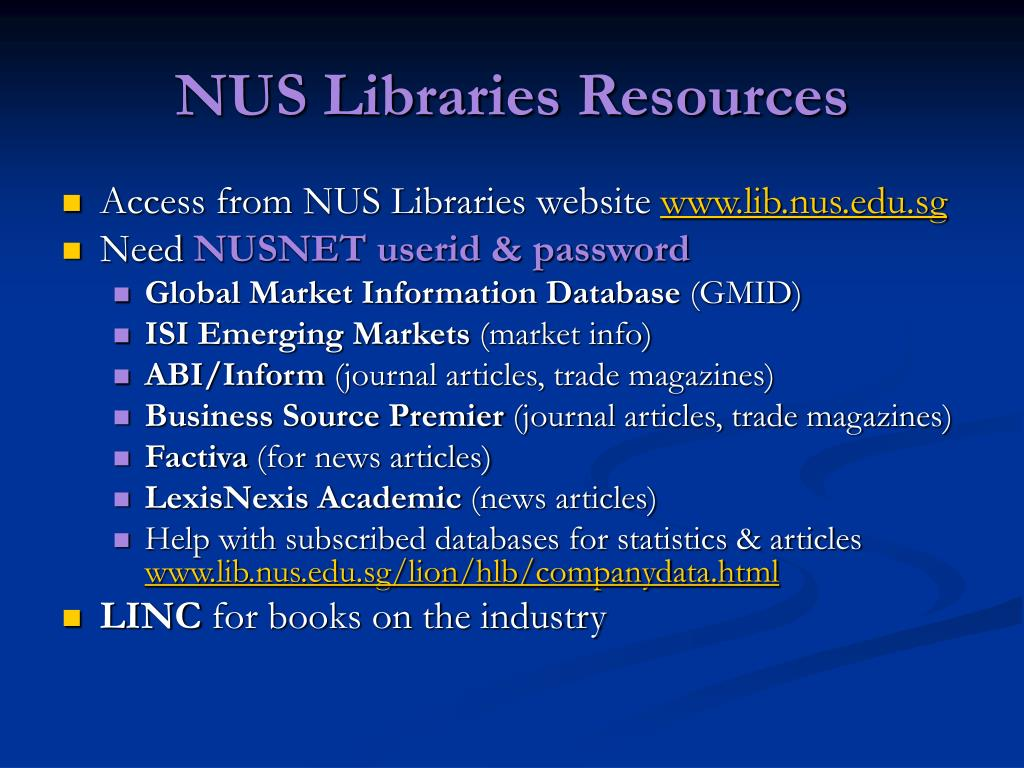 NUS Libraries Resources
