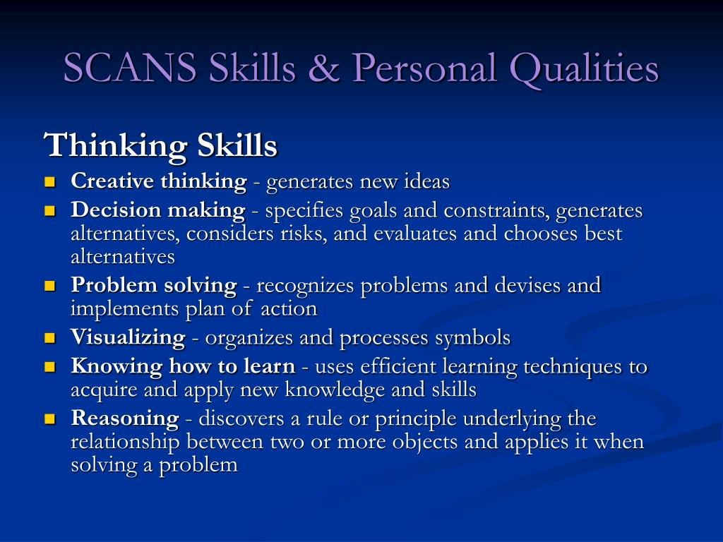 SCANS Skills & Personal Qualities