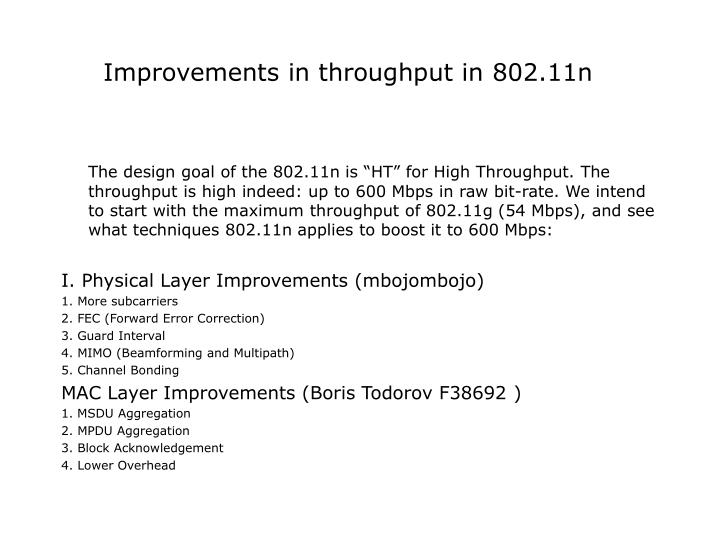 Improvements In Throughput 80211n