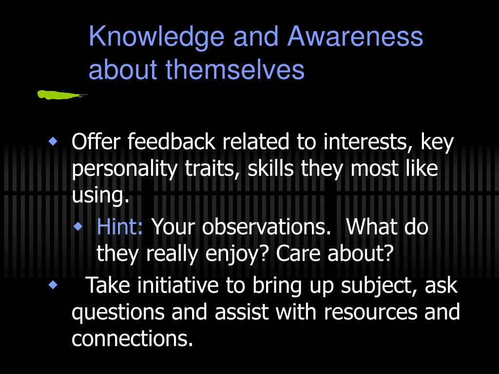 Knowledge and Awareness about themselves