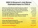 2009 10 governor s july revise estimated impact to csula