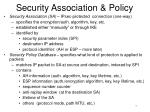 security association policy