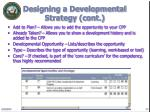 designing a developmental strategy cont