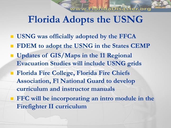 Florida Adopts the USNG