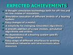 expected achievements
