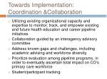 towards implementation coordination collaboration
