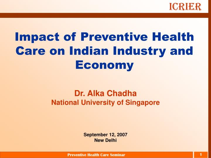impact of preventive health care on indian industry and economy n.