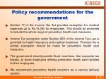 policy recommendations for the government