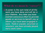 what do we mean by career