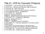 title 21 cfr for cosmetic products