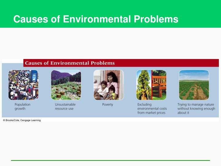 causes of environmental problems essay Global warming causes and effects essay 4 (250 words) increase in environmental temperature and climate change has become very clear over the last 50 years because of increasing level of greenhouse gases concentration (like water vapour, co2, methane, ozone, sulphur and nitrogen gases, etc ) in the atmosphere.