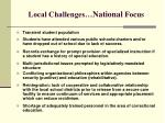 local challenges national focus