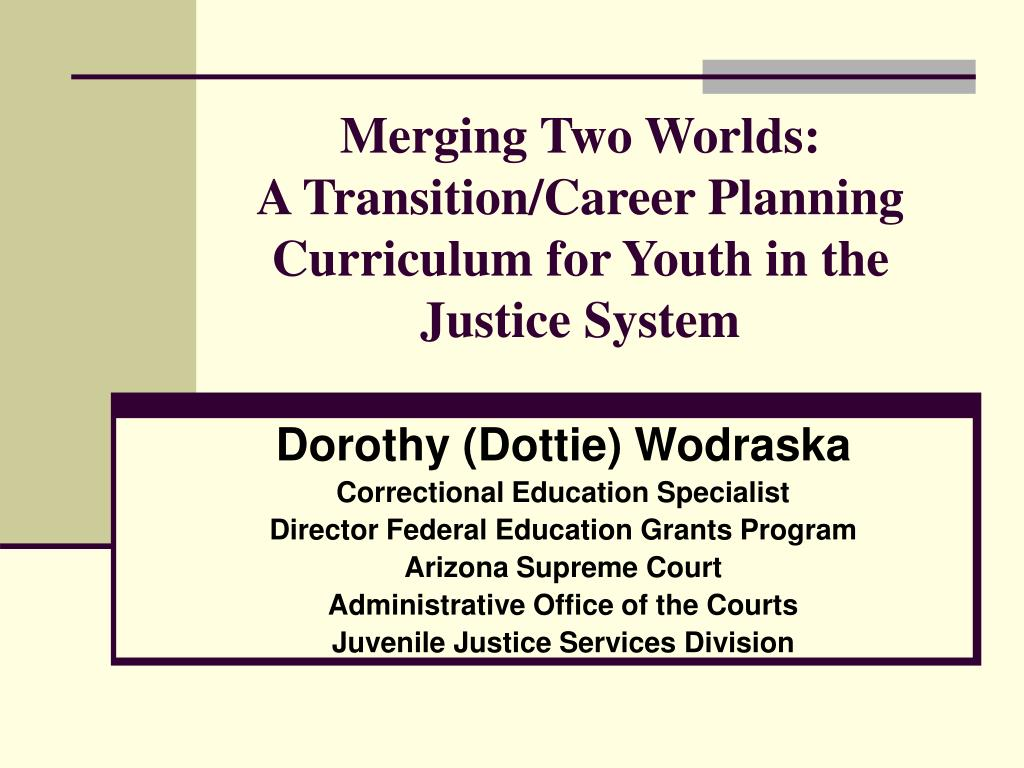 merging two worlds a transition career planning curriculum for youth in the justice system l.