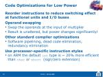 code optimizations for low power