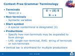 context free grammar terminology