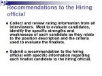 recommendations to the hiring official