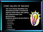 core values of nacada