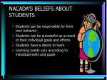 nacada s beliefs about students