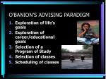 o banion s advising paradigm