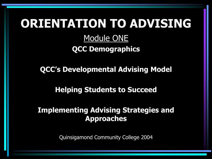 orientation to advising n.