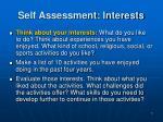 self assessment interests