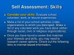self assessment skills