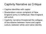 captivity narrative as critique