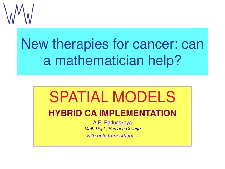 new therapies for cancer can a mathematician help n.