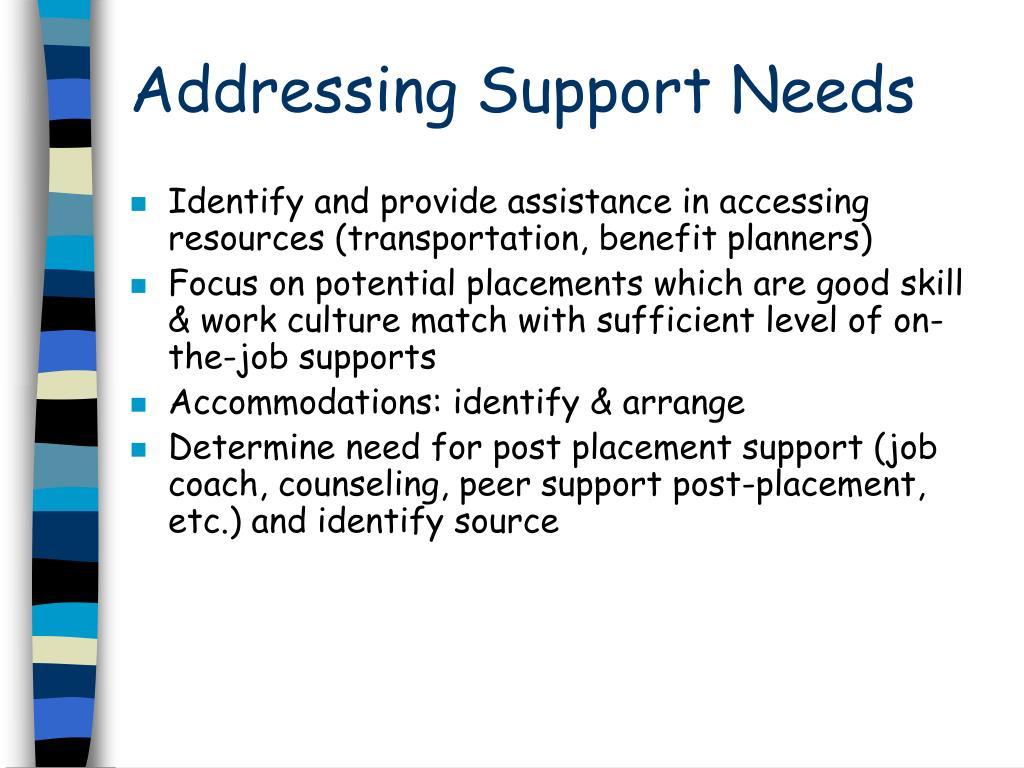 Addressing Support Needs