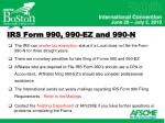 irs form 990 990 ez and 990 n