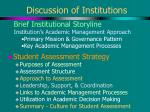 discussion of institutions