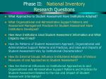 phase ii national inventory research questions