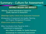 summary culture for assessment