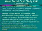 wake forest case study visit september 2000