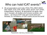 who can hold icat events