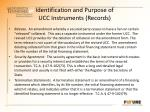 identification and purpose of ucc instruments records2