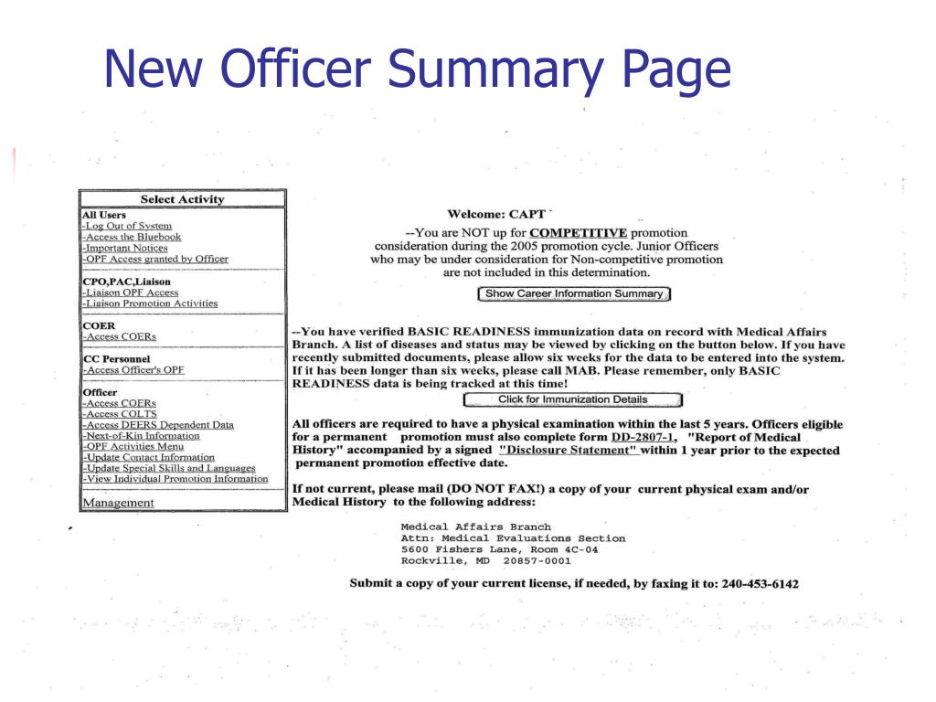 New Officer Summary Page