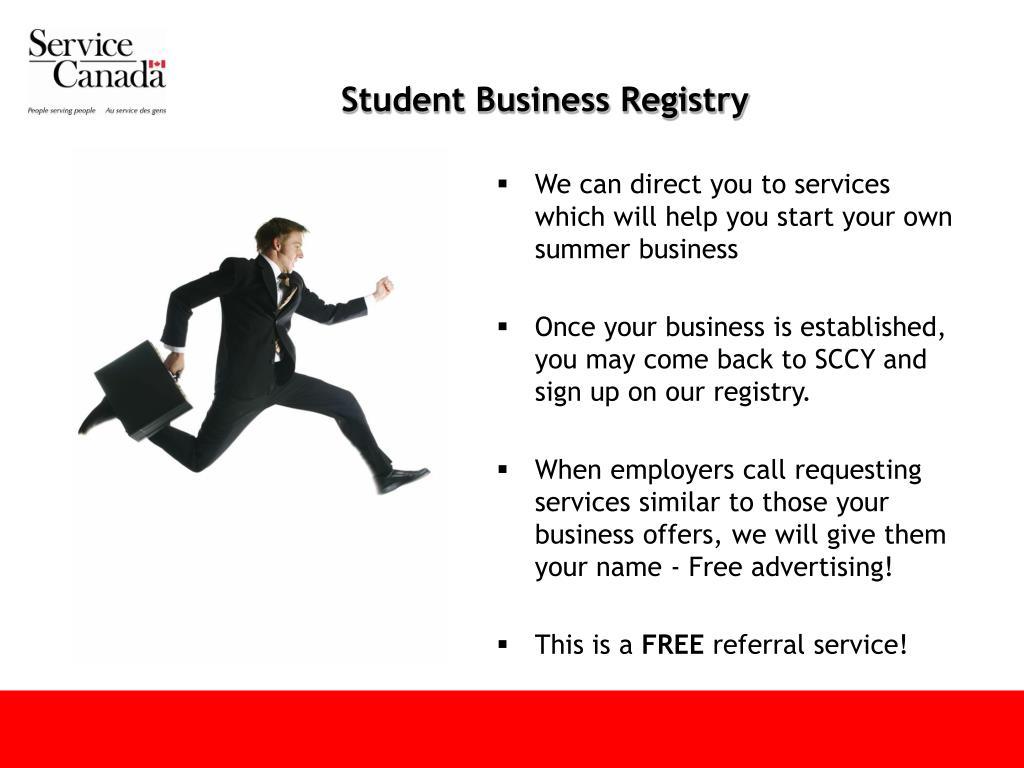 Student Business Registry