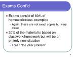 exams cont d