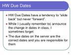 hw due dates