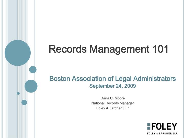 records management 101 n.