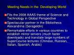 meeting needs in the developing world