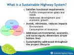 what is a sustainable highway system